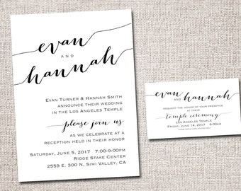 LDS Wedding Invitation, wedding invitation, wedding invites, modern wedding invitations, temple wedding: PRINTABLE (Evan and Hannah)