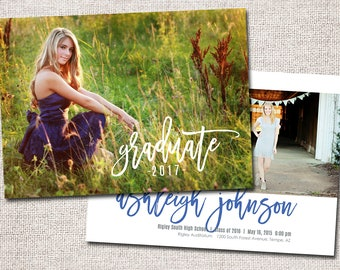 Graduation Announcement, Graduation Invitation, Photo Graduation Announcement, Printable Graduation Announcement: PRINTABLE (Graduate 2017)
