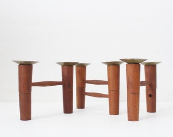 50% half off sale // Vintage Danish Modern Teak Wood and Brass Candle Holders - Set of Three - As Is Condition