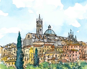 Siena 6, Italy art print from an original watercolor painting
