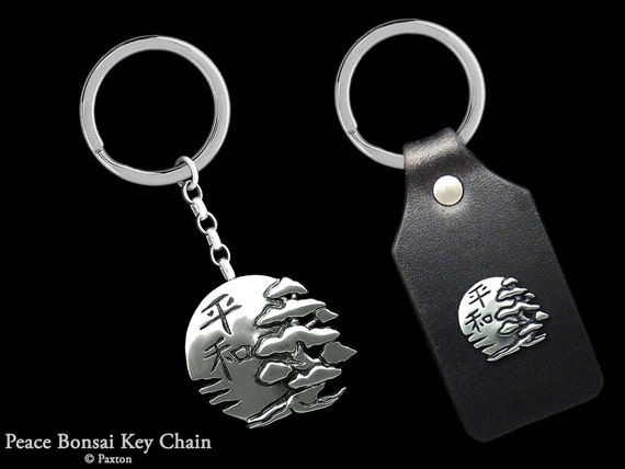 Bonsai & Sun with Peace Japanese Kanji Keychain / Keyring Sterling Silver or Peace Bonsai on Genuine Leather Keyfob