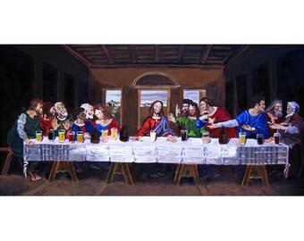 The Last Supper, Leonardo Da Vinci, Jesus and Beer Art, Gift for Brewer, Gift for Beer Nerd, Gift for Husband, Art for Men, Bar Beer Art