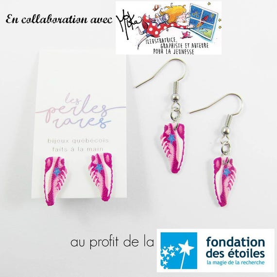 pink running shoes, mika design, blue, star, earring, shrinkplastic, foundraising, stainless stud, nickel free, handmade, les perles rares