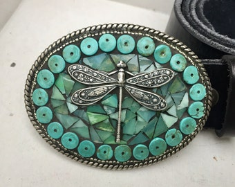 Mosaic Belt Buckle, Turquoise Buckle, Dragonfly Buckle, Western Belt Buckle, Stained Glass Buckle, Handmade Buckle, Entomologist, Insect