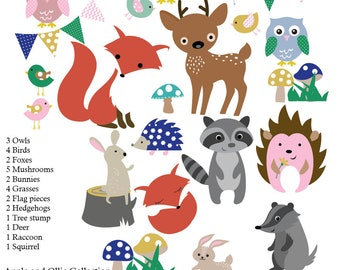 Kids Wall Decals Forest Decals, Nursery Wall Decals, Fox Decals