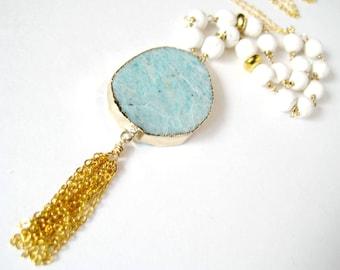 Amazonite and Cream Howlite Gold Tassel Necklace