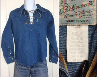 1970's leather lace up denim rodeo Cowboy Western snap cuffs Shirt size Medium by Rockmount relaxed fit blue jean hippie boho festival
