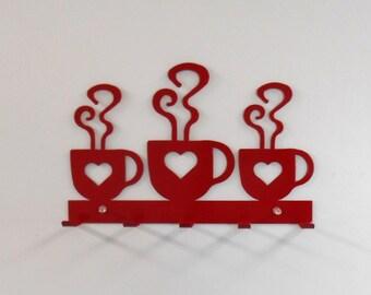 Coffee  / Hearts / Metal Wall Hanging  / Oven Mitt rack / Bright Red / Kitchen decor / Metal Wall Decor / Dish Towels / Key Rack