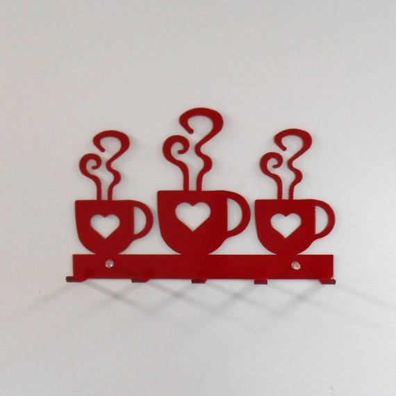 Coffee  / Hearts / Metal Wall Hanging  / Oven Mitt rack / Bright Red / Kitchen decor / Metal Wall Decor / Dish Towels / Key Rack