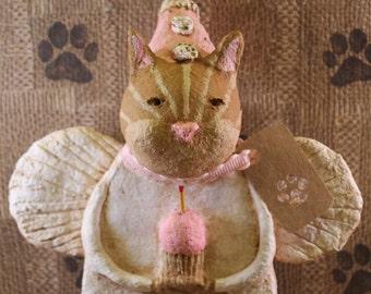 Orange Tiger Cat  Birthday Angel, OOAK, hand-sculpted from papier mache, Orange Tiger Cat Birthday Angel