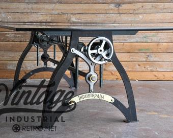 IndustriaLux Crank Dining Table/ Hollywood Regency meets Vintage Industrial