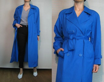 80s LONDON FOG Blueberry Trench Coat Vintage 1980s Blue Cotton Trench Coat 80s London Fog Trench Coat Blue Double Breasted Trench Coat