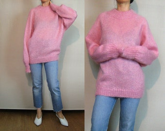 80s Hand Knit MOHAIR Sweater Vintage 1980s Pink Mohair Sweater Oversized Sweater