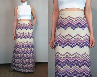 70s Ombre CHEVRON Wool Maxi Skirt