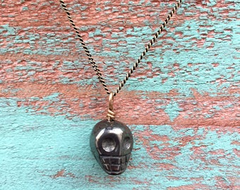 Small Pyrite Skull Necklace