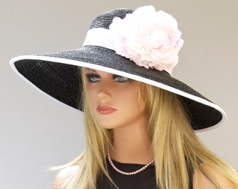 Black and White Hat, Wedding Hat, Kentucky Derby Hat, Formal Hat, Wide Brim Hat, Hat with Flower, Ascot Hat, Special Occasion Hat, Event hat