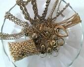 Destash vintage gold chain pieces and beads