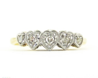 Vintage Diamond Heart Engagement Ring. Love Heart Shaped Five Stone Diamond Ring. Circa 1930s, 18ct Plat.