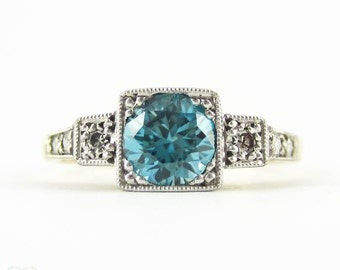 Vintage Blue Zircon & Diamond Engagement Ring, Three Stone Square Set Milgrain Engraved Ring. Circa 1940s, 18ct Plat.