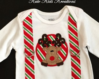 Baby Boy's Christmas Bodysuit/Reindeer and Suspenders/Size 12 M, Ready to Ship