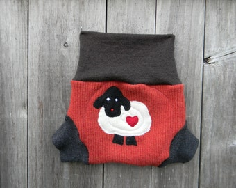 Upcycled Merino Wool Soaker Cover Diaper Cover With Added Doubler Orange/ Black/ Brown With Baa Baa Sheep Applique SMALL 3-6M