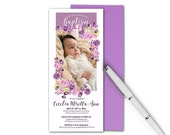 baptism invitation | pink and purple flowers | baby baptism