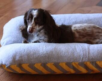 BUNBED, Gray & Yellow, Dachshund Dog Bed, Burrow Bed, Chevron Gray Plush Fleece Dog Bed, Small Dog Bed, Dachshund Bed