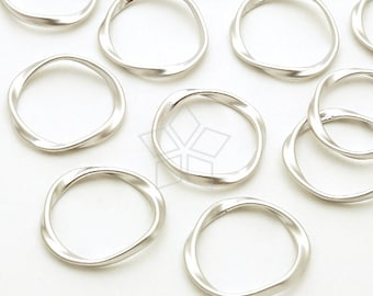 PD-057-MS / 4 Pcs - Mobius Strip Ring Pendant, Infinity Pendant, Love Knot Pendant, Matte Silver Plated Brass / 16mm
