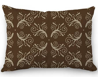 Brown lumbar pillow, decorative throw pillow cover, flourish design, cotton rectangular pillow with hidden zipper