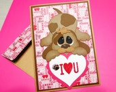 CUSTOM ORDER reserved for Michelle - Puppy Love Valentine with paper-pieced puppy
