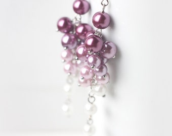 Purple Bridesmaid Earrings, Long Pearl Cluster Earrings in Ombre Color from Purple to White