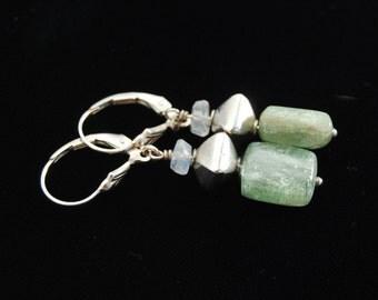 Green Kyanite earrings | Green Silver earrings | Green Kyanite Healing Properties | Green Kyanite Crystal | Green Kyanite Gemstone earrings