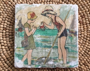 "Vintage Beach Marble Stone Coaster - ""Beach Life""  -  Beach Decor - Beach Coaster - Lake House - Cottage Decor"