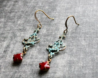 Verdigris Earrings Ornate Patina Earrings BoHo Earrings Filigree Elegant Jewelry