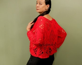 Red Top Tunic, Crop Top Knit Tunic, Boho Top, Red Lace Blouse, Boat Neck Top, Lace Tunic, Lace Top, Knit Jumper, Knit Sweater, Pure Cotton