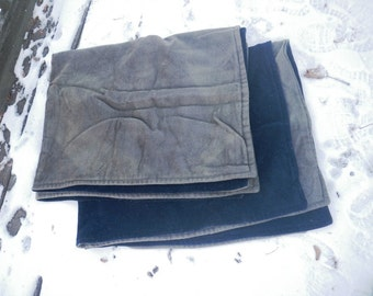 Two Windsor Wool Sleigh Blankets Buggy Robe Throw Two Sided Navy Blue & Gray