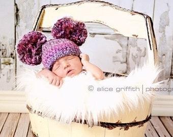 Crochet Baby Pom Pom Hat, Double Pom Pom Beanie, Pom Pom Hat, Baby Girl Hat, Baby Boy Hat, Newborn Pom Pom Hat, Newborn Photography Prop
