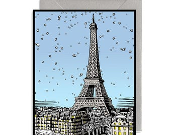 Paris in Winter Holiday Card with Silver Envelope
