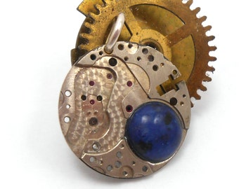 Steampunk Upcycled Genuine Watch Movement Dyed Agate Blue Stone Pendant
