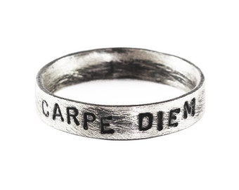 Personalized Gifts for Him Hand Stamp Carpe Diem Sterling Silver Ring