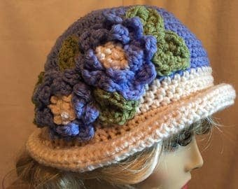 Lovely Lady Flowered Hat.....Blue and Ivory Crocheted Delight