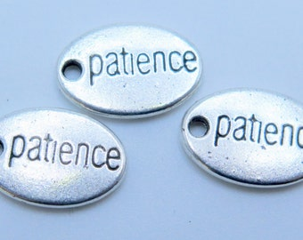 3PCS - Oval Charms - Patience - Silver Toned - Inspiration Charms - 14x10mm - PC11