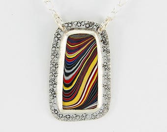 Handcrafted Sterling Silver & Fordite/Detroit Agate /Corvette Pendant Primary Stripes Sterling Contemporary Artisan Jewelry 3143649722817
