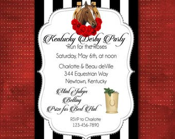 Kentucky Derby Invitation, Custom Made, Horse Race Betting Slips, Churchill Downs Preakness Belmont Stakes, Run for the Roses, DIY Printable
