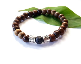 Ethnic, wood,silver and lava stackable stretch bracelet// mens wood bracelet//stackable bracelet//yoga bracelet//mens gifts-  The Ikono