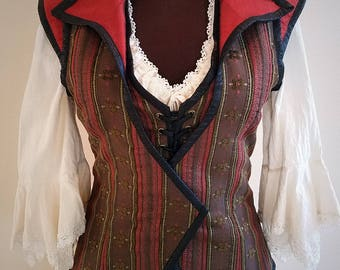 Pirate Wench Vest in Woven Rustic Brown with Red Dupioni Silk Accents Ready to Ship