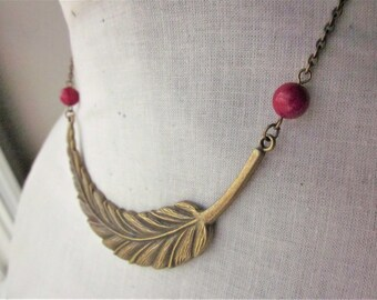 Handmade Feather Necklace Brass Feather Necklace Red Feather Necklace Red Riverstone Necklace Red Gemstone Necklace Feather Bib Necklace