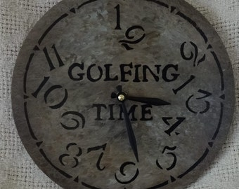 9 Inch GOLFING TIME CLOCK with Jumbled Numbers in Warm Earth Shades