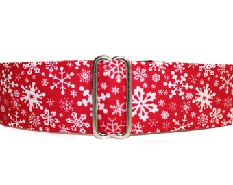 1.5 Inch Martingale Collar, Christmas Martingale Collar, Christmas Dog Collar, Snowflake, Holiday, Winter, Red, Greyhound Collar