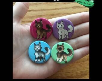 Doggo Pins Set of 4 (Husky, German Shepherd, Blonde Shepherd, Brown Shepherd)